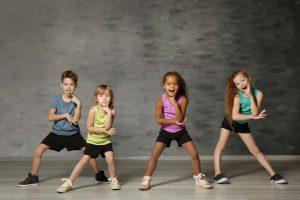 Cute funny children in dance studio